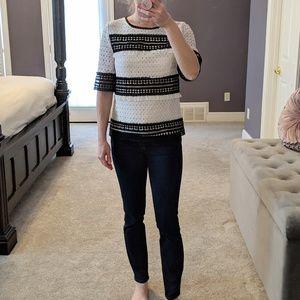 Black and White Crochet Blouse